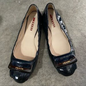 Prada flats patent blue shoes